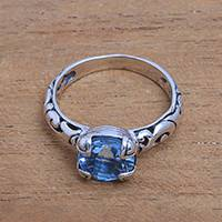 Blue topaz single-stone ring, 'Temple Heirloom' - Blue Topaz Single Stone Ring Crafted in Bali