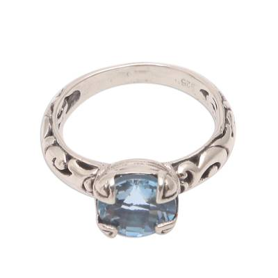 Blue topaz single stone ring, 'Temple Heirloom' - Blue Topaz Single Stone Ring Crafted in Bali