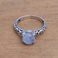 Rainbow moonstone single stone ring, 'Temple Heirloom' - Rainbow Moonstone Single Stone Ring Crafted in Bali