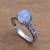 Rainbow moonstone single stone ring, 'Temple Heirloom' - Rainbow Moonstone Single Stone Ring Crafted in Bali (image 2b) thumbail