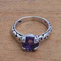 Amethyst single stone ring, 'Temple Heirloom' - Amethyst Single Stone Ring Crafted in Bali