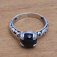 Onyx single stone ring, 'Temple Heirloom' - Black Onyx Single Stone Ring Crafted in Bali