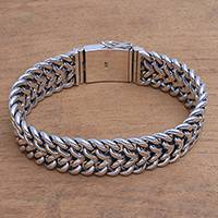 Men's sterling silver chain bracelet, 'Celuk Strength' - Men's Sterling Silver Chain Bracelet from Bali