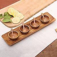 Teakwood condiment set 'Natural Island Flavors' (9 piece set) - Natural Teakwood Condiment Set from Bali (9 piece)