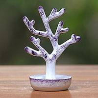 Wood ring holder, 'Purple Tree' - Handcrafted Tree-Shaped Wood Ring Holder from Bali