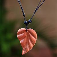 Wood pendant necklace, 'Leaf of My Heart' - Hand-Carved Wood Leaf Pendant Necklace from Bali