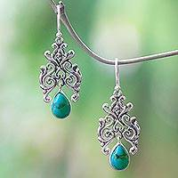 Magnesite dangle earrings, 'Droplet Forest' - Openwork Motif Magnesite Dangle Earrings Crafted in Bali