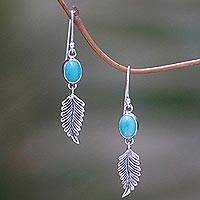 Magnesite dangle earrings, 'Leaves of Hope' - Leaf Motif Magnesite Dangle Earrings from Bali