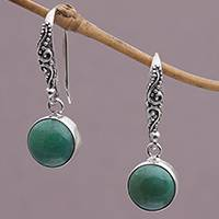 Magnesite dangle earrings, 'Blue-Green Purity' - Handcrafted Magnesite Dangle Earrings from Bali