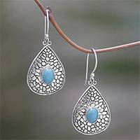 Magnesite dangle earrings, 'Cobblestone Ovals' - Cobblestone Motif Magnesite Dangle Earrings from Bali