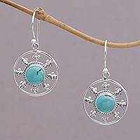 Magnesite dangle earrings, 'Blue-Green Sunrise' - Round Magnesite Dangle Earrings Crafted in Bali