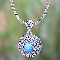 Magnesite pendant necklace, 'Blue-Green Moon' - Round Magnesite Pendant Necklace Crafted in Bali