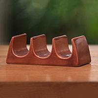 Ceramic taco holder, 'Bali Waves' - Handcrafted Ceramic Taco Holder in Brown from Bali