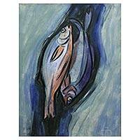 'Fishes' - Signed Expressionist Painting of Two Fish from Bali