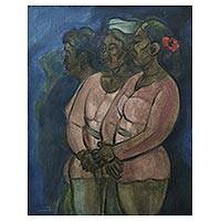 'Three Balinese Women' - Signed Expressionist Painting of Balinese Women