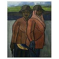 'Two Farmers' - Signed Expressionist Painting of Two Farming Women from Bali