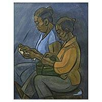 'Canang Seller' - Signed Expressionist Painting of Two Saleswomen from Bali
