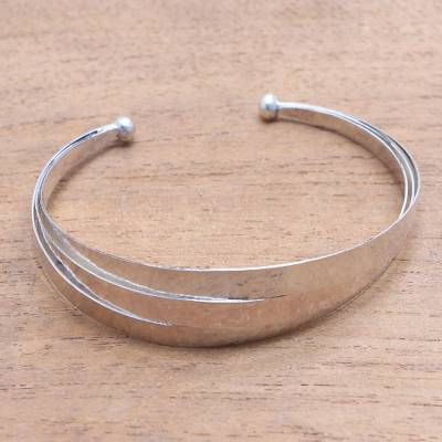 Sterling silver cuff bracelet, 'Merging Paths' - Triple Arc Hammered Finish Sterling Silver Cuff Bracelet