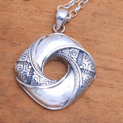 Sterling silver pendant necklace, 'Songket Eye' - Songket-Themed Sterling Silver Pendant Necklace from Bali