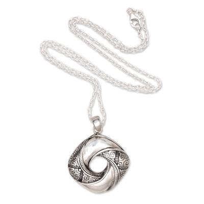 Sterling silver pendant necklace, 'Songket Eye' - Songket-Themed Sterling Silver Pendant Necklace from Bali