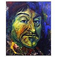 'Descartes' - Signed Expressionist Painting of Renee Descartes from Bali