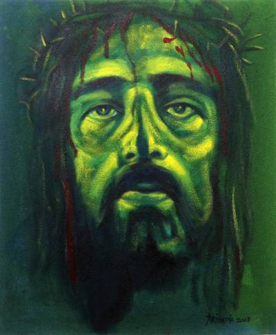 'Jesus Christ' - Signed Expressionist Painting of Jesus in Green from Bali