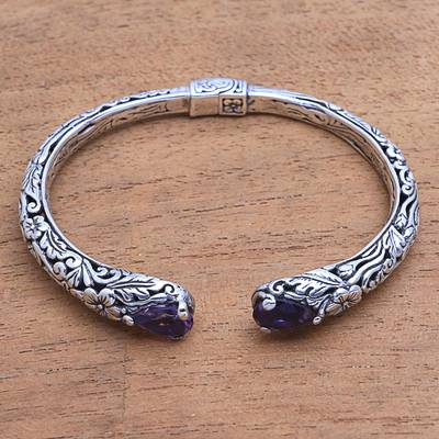 Amethyst cuff bracelet, 'Hint of Twilight' - Amethyst and Sterling Silver Floral Motif Cuff Bracelet