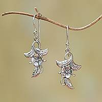 Sterling silver dangle earrings, 'Frangipani Blooms' - 925 Sterling Silver Flower Dangle Earrings from Bali