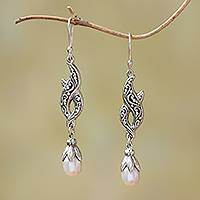 Cultured pearl dangle earrings, 'Double Tendrils' - Cultured Pearl and Sterling Silver Dangle Earrings from Bali