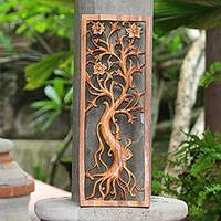 Wood relief panel, 'Ancient Frangipani' - Frangipani Flower Tree Suar Wood Relief Panel from Bali