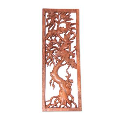 Wood relief panel, 'Righteous Tree' - Hand-Carved Tree-Themed Suar Wood Relief Panel from Bali