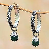 Aventurine hoop earrings, 'Budding Spirit'
