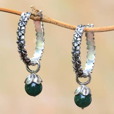 Aventurine hoop earrings, 'Budding Spirit' - Aventurine and Sterling Silver Floral Motif Hoop Earrings