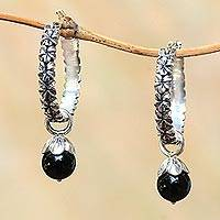 Onyx hoop earrings, 'Budding Spirit'