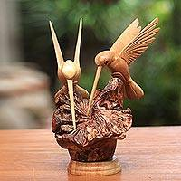 Wood sculpture, Hummingbird Couple