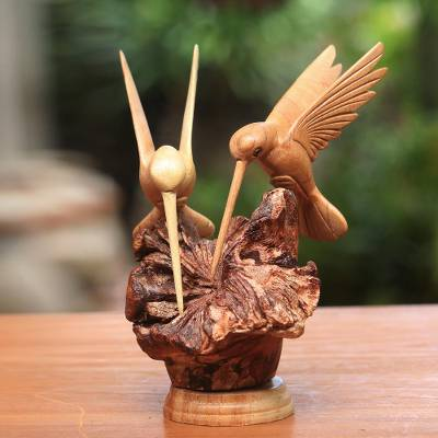 Wood sculpture, 'Hummingbird Couple' - Hand Carved Jempinis Wood Hummingbird Sculpture from Bali