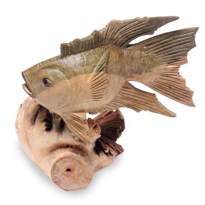 Wood figurine, 'Gourami Fish' - Hand-Carved Wood Gourami Fish Figurine from Bali
