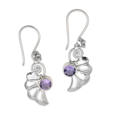 Amethyst dangle earrings, 'Butterfly Halves' - 2.5-Carat Amethyst Dangle Earrings Crafted in Bali
