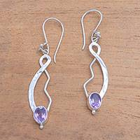 Amethyst dangle earrings, 'Jepun Tendrils' - Modern Floral Amethyst Dangle Earrings from Bali