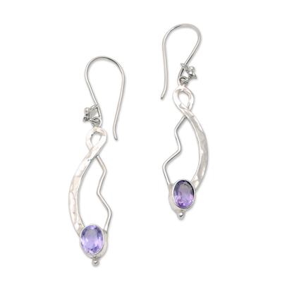 Amethyst dangle earrings, 'Jepun Tendrils' - Modern Floral Amethyst Dangle Earrings from Bali