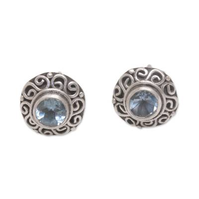 Swirl Pattern Blue Topaz Stud Earrings from Bali