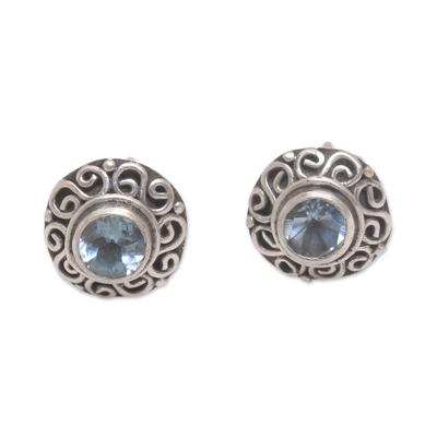 Blue topaz stud earrings, 'God Eye' - Swirl Pattern Blue Topaz Stud Earrings from Bali