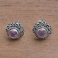 Amethyst stud earrings, 'God Eye'