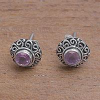 Amethyst stud earrings, 'God Eye' - Swirl Pattern Amethyst Stud Earrings from Bali