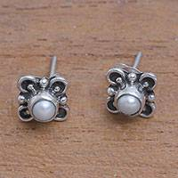 Cultured pearl stud earrings, 'Cute Glow' - Loop Motif Cultured Pearl Stud Earrings from Bali