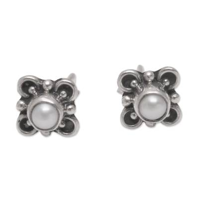 Loop Motif Cultured Pearl Stud Earrings from Bali