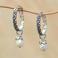 Cultured pearl dangle earrings, 'Budding Spirit' - Cultured Pearl Hoop Dangle Earrings from Bali