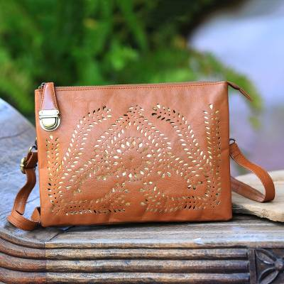 Adjustable Leather Shoulder Bag in Sepia from Bali, 'Shimmering Morning in  Sepia'