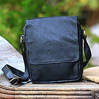 Leather sling, 'Majapahit Traveler in Black' - Handcrafted Leather Sling in Black from Bali