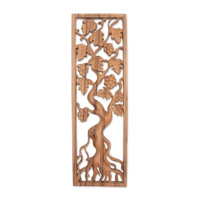 Wood relief panel, 'Duku Tree' - Tree-Themed Suar Wood Relief Panel Crafted in Bali